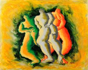 """""""Incontro"""", 1994 - acrilico su tela, 40x50 cm"""