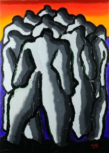 """""""I giganti della montagna"""", 2001 - acrilico su tela, 70x50 cm"""