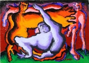"""""""Tentazione di San Antonio"""", 1995 - acrilico su tela, 25x35 cm"""