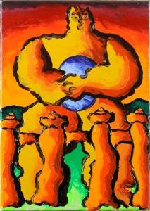 """""""Dio denaro"""", 1995 - acrilico su tela, 25x35 cm"""