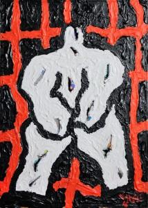 """""""Pensiero detenuto"""", 2016 - acrilico su tela, 30x40 cm"""